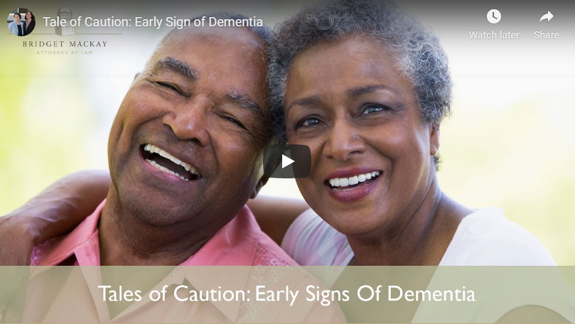 video titled tales of caution, early sign of dementia