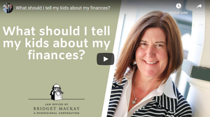 video titled What should I tell my kids about my finances?